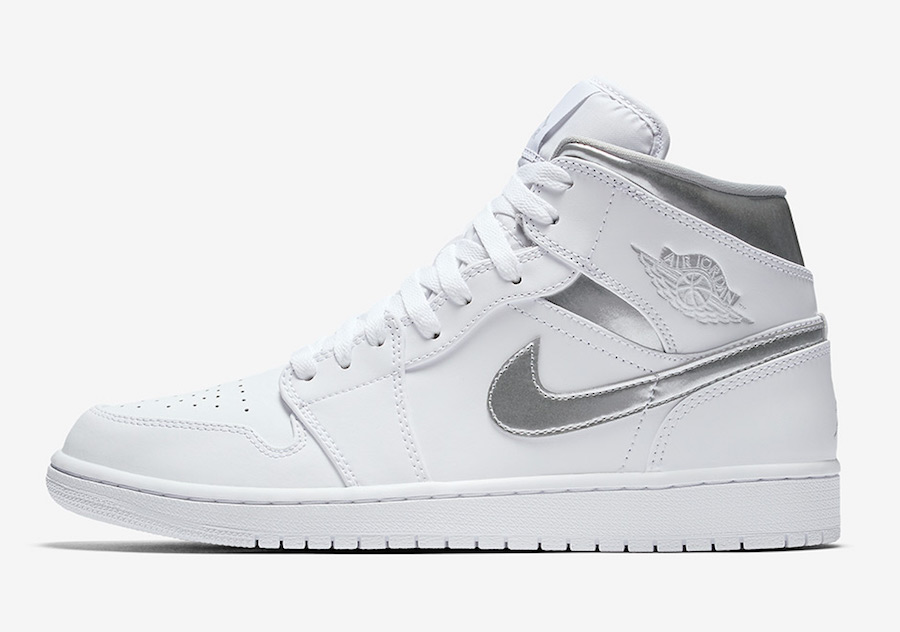 "AJ1,Air Jordan 1 Mid,554724-10  简练白银!Air Jordan 1 Mid ""Metallic Silver"" 现已发售"