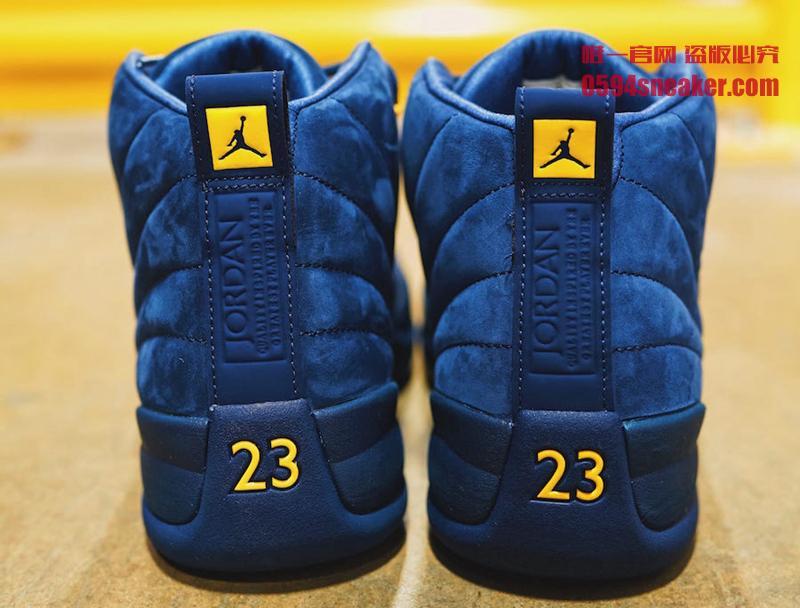 "Air Jordan 12,AJ12,BQ3180-407,  蓝麂皮密歇根!Air Jordan 12 ""Michigan"" 本月发售"