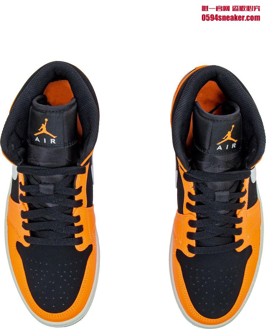 "Air Jordan 1 Mid ""Orange/Black"" 货号:554724-062"