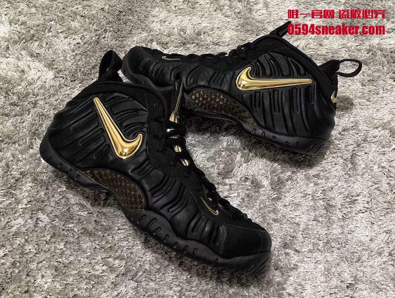 Nike Air Foamposite Pro 黑金泡,货号:624041-009