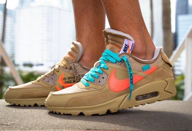 "OFF-WHITE x Nike Air Max 90 ""Desert Ore"" 货号:AA7293-200 - 莆田鞋"
