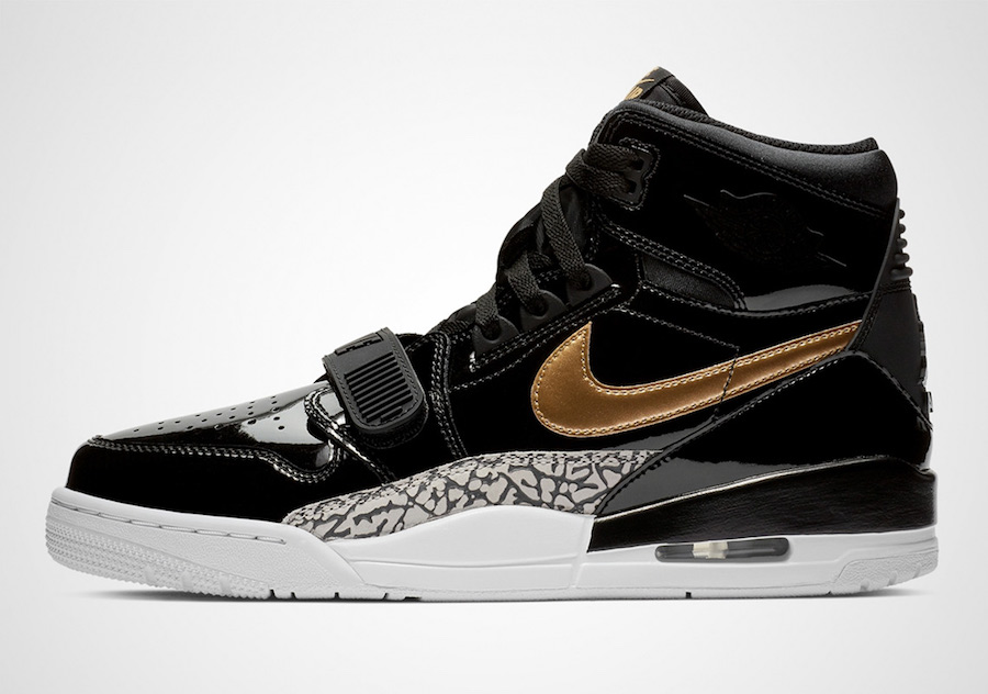 "Jordan Legacy 312 ""Black Metallic Gold"" 货号:AV3922-007 黑金漆皮 - 莆田鞋"