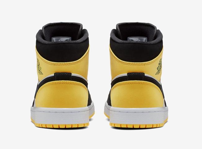 "Air Jordan 1 Mid SE ""Yellow Toe"" 黑黄脚趾,货号:852542-071   球鞋之家0594sneaker.com"