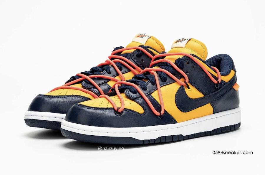 Off-White x Nike Dunk Low 货号:CT0856-600、CT0856-700​​​​​​​、CT0856-100