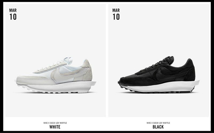"Sacai x Nike LDV Waffle ""Nylon"" 货号:BV0073-101、BV0073-002"