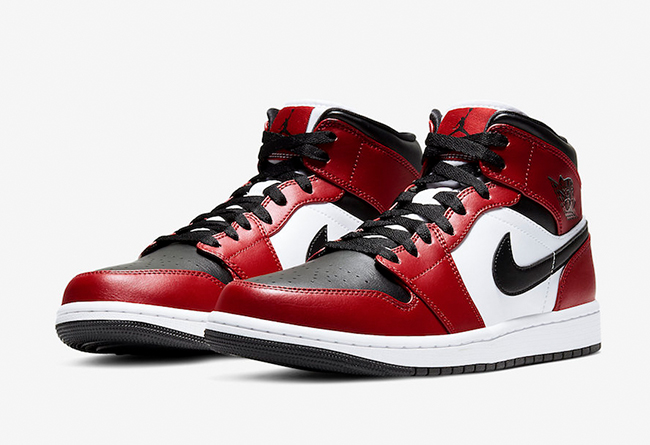"Air Jordan 1 Mid ""Chicago Black Toe"" 芝加哥脚趾,货号:554724-069"