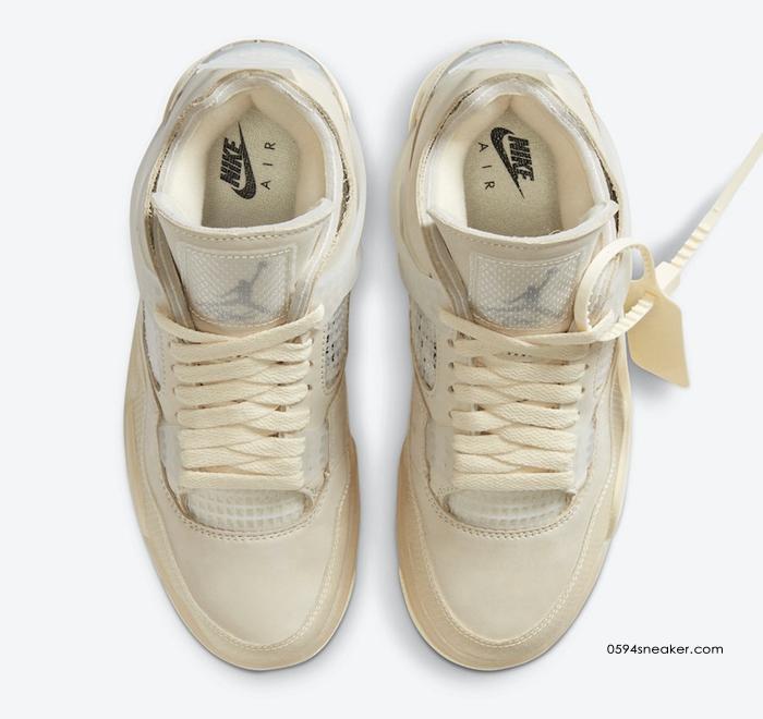 """OFF-WHITE x Air Jordan 4 SP WMNS """"Sail"""" 货号:CV9388-100"""